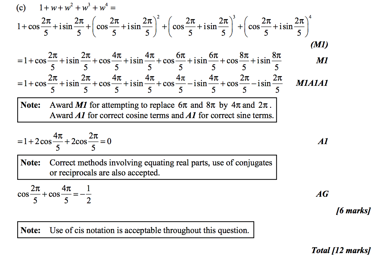 Complex number and trig -- past paper question - Maths HL